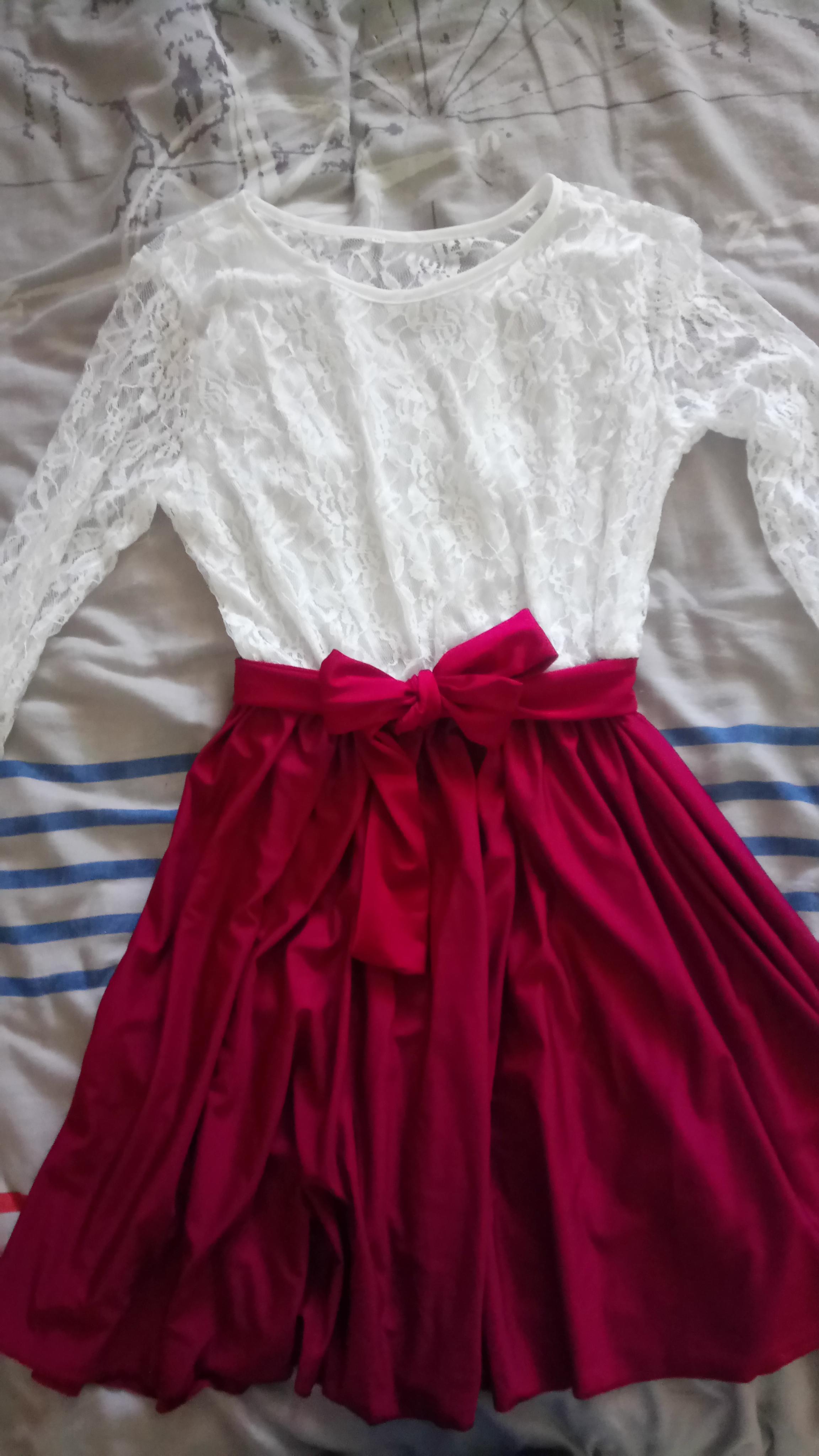 troc de troc robe neuve blanche rouge t38 image 0